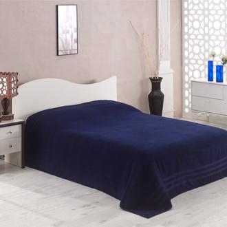 Махровая простынь-покрывало для укрывания Karna PETEK махра хлопок синий