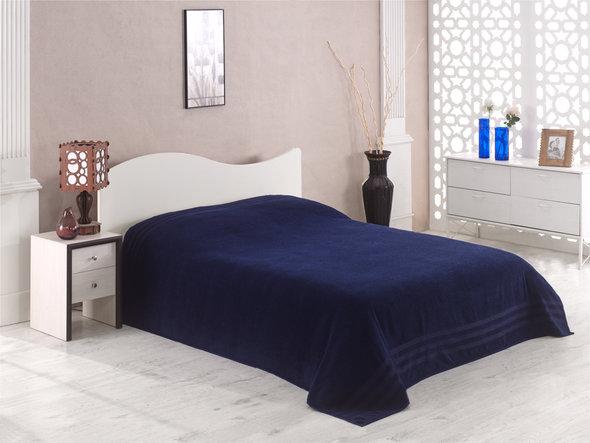 Махровая простынь-покрывало для укрывания Karna PETEK махра хлопок (синий) 200*220, фото, фотография