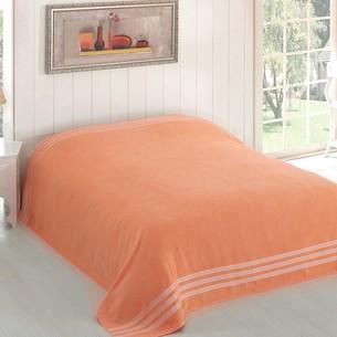 Махровая простынь-покрывало для укрывания Karna PETEK махра хлопок абрикосовый 200х220
