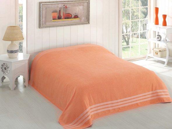 Махровая простынь-покрывало-одеяло Karna PETEK махра хлопок (абрикосовый) 200*220, фото, фотография