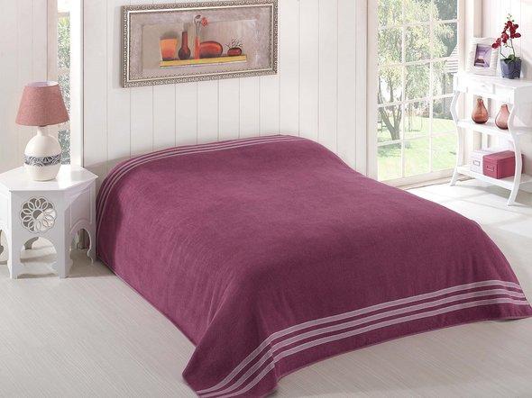 Махровая простынь-покрывало-одеяло Karna PETEK махра хлопок (светло-лавандовый) 200*220, фото, фотография