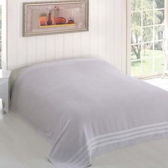 Махровая простынь-покрывало-одеяло Karna PETEK махра хлопок (серый)
