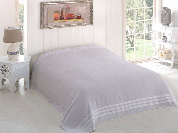 Махровая простынь-покрывало для укрывания Karna PETEK махра хлопок (серый) 160*220, фото, фотография