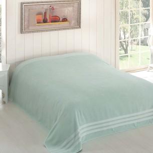 Махровая простынь-покрывало для укрывания Karna PETEK махра хлопок зелёный 160х220