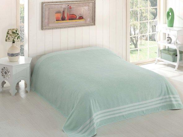 Махровая простынь-покрывало-одеяло Karna PETEK махра хлопок (зелёный) 200*220, фото, фотография