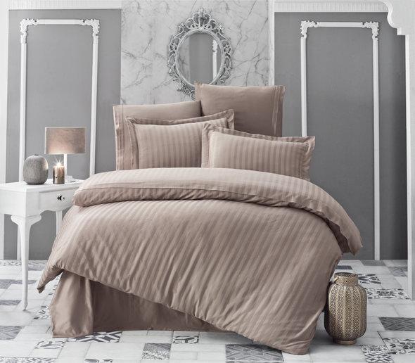 Комплект постельного белья Karna PERLA страйп-сатин бамбук (кофейный) евро, фото, фотография