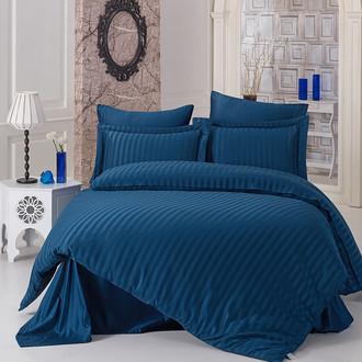 Комплект постельного белья Karna PERLA страйп-сатин бамбук (синий)