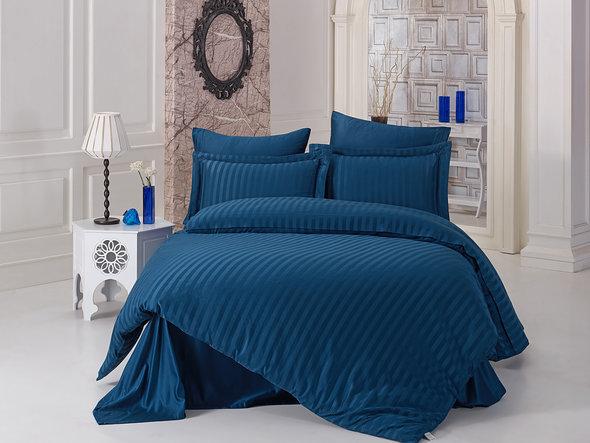 Комплект постельного белья Karna PERLA страйп-сатин бамбук (синий) евро, фото, фотография