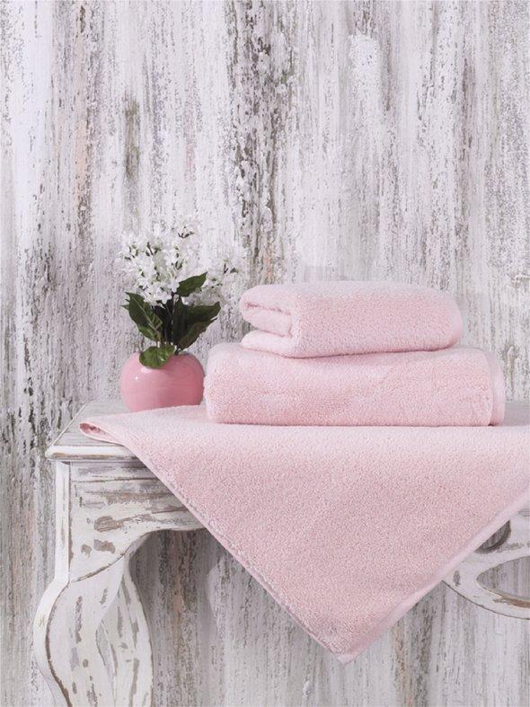 Полотенце для ванной Karna MORA микрокоттон хлопок (пудра) 70*140, фото, фотография