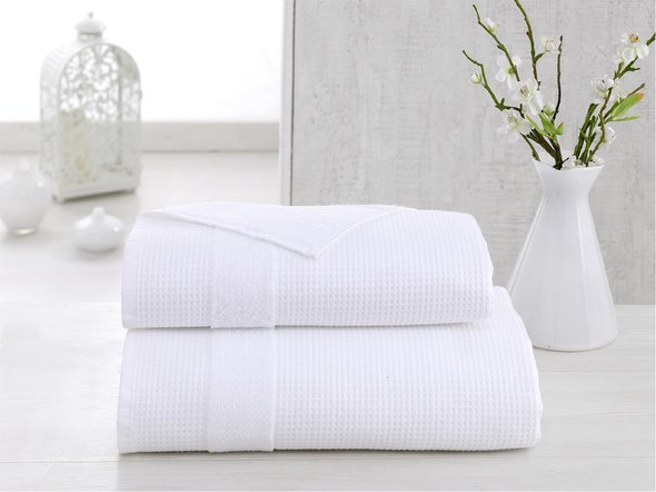 Полотенце для ванной Karna TRUVA микрокоттон хлопок (белый) 70*140, фото, фотография