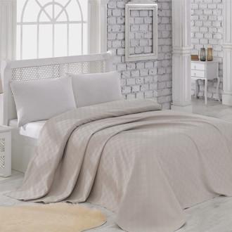 Вафельная простынь-покрывало-одеяло Karna ZEN вафля хлопок (бежевый)