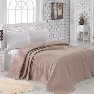 Вафельная простынь-покрывало-одеяло Karna ZEN вафля хлопок (коричневый)