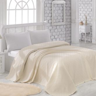 Вафельная простынь-покрывало-одеяло Karna ZEN вафля хлопок (кремовый)