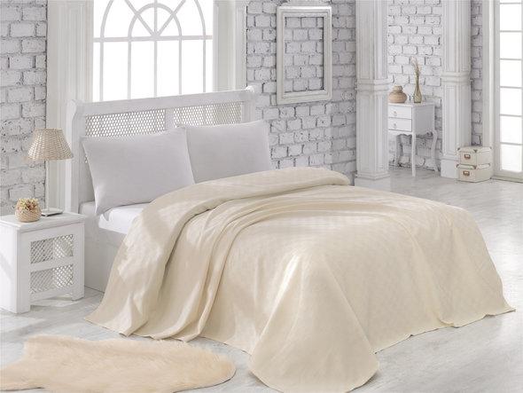 Вафельная простынь-покрывало для укрывания Karna ZEN вафля хлопок (кремовый) 200*240, фото, фотография