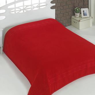 Махровая простынь-покрывало для укрывания Karna REBEKA махра хлопок (красный)