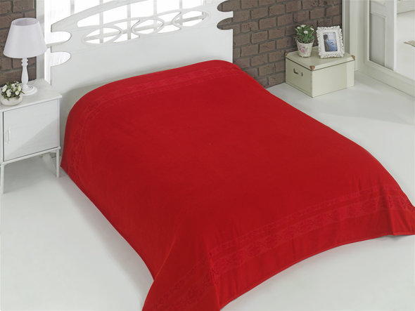 Махровая простынь-покрывало для укрывания Karna REBEKA махра хлопок (красный) 200*220, фото, фотография