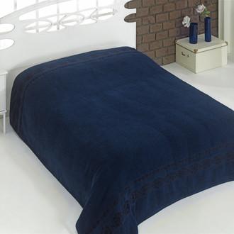Махровая простынь-покрывало для укрывания Karna REBEKA махра хлопок (синий)
