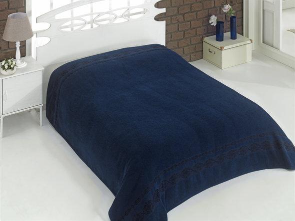 Махровая простынь-покрывало для укрывания Karna REBEKA махра хлопок (синий) 160*220, фото, фотография