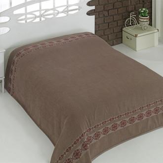 Махровая простынь-покрывало для укрывания Karna REBEKA махра хлопок (коричневый)