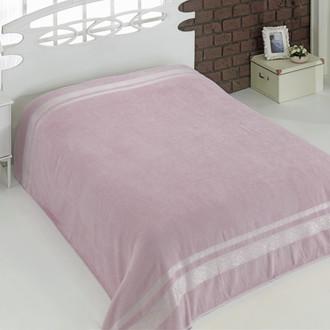 Махровая простынь-покрывало для укрывания Karna REBEKA махра хлопок (грязно-розовый)