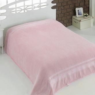 Махровая простынь-покрывало для укрывания Karna REBEKA махра хлопок (светло-розовый)