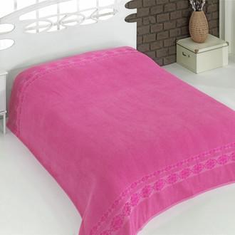 Махровая простынь-покрывало-одеяло Karna REBEKA махра хлопок (розовый)