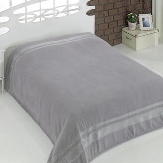 Махровая простынь-покрывало для укрывания Karna REBEKA махра хлопок (серый)