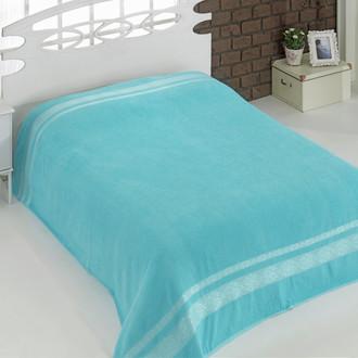 Махровая простынь-покрывало-одеяло Karna REBEKA махра хлопок (бирюзовый)