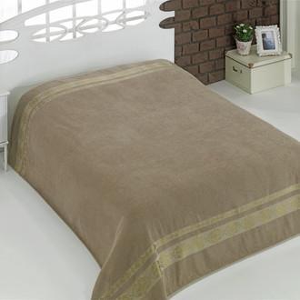Махровая простынь-покрывало для укрывания Karna REBEKA махра хлопок (кофейный)