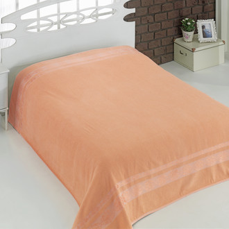 Махровая простынь-покрывало для укрывания Karna REBEKA махра хлопок (абрикосовый)
