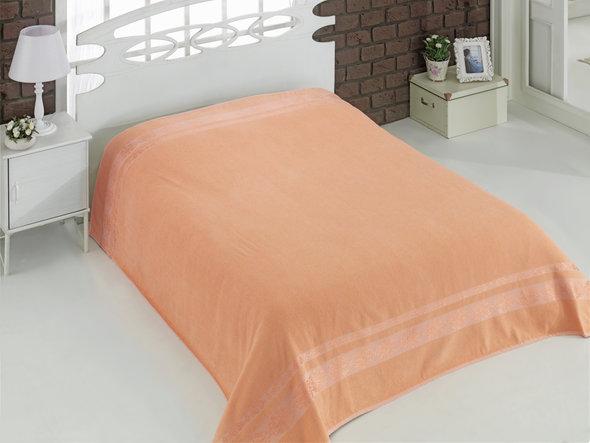 Махровая простынь-покрывало для укрывания Karna REBEKA махра хлопок (абрикосовый) 200*220, фото, фотография