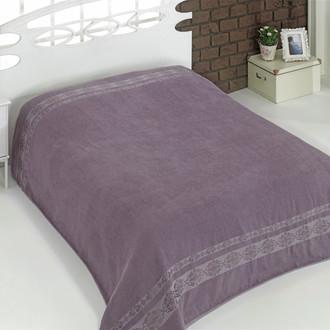 Махровая простынь-покрывало-одеяло Karna REBEKA махра хлопок (светло-лавандовый)