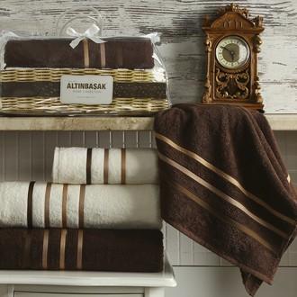 Подарочный набор полотенец Altinbasak DOLCE махра хлопок 50*90(2), 70*140(2) (кремовый+коричневый)