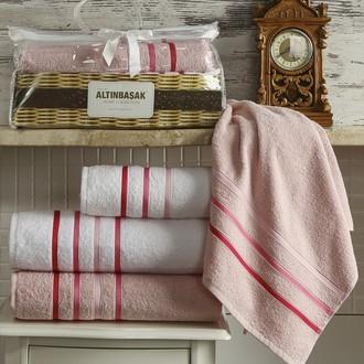 Подарочный набор полотенец Altinbasak DOLCE махра хлопок 50*90(2), 70*140(2) (белый+розовый)