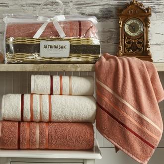 Подарочный набор полотенец Altinbasak DOLCE махра хлопок 50*90(2), 70*140(2) (кремовый+грязно-розовый)