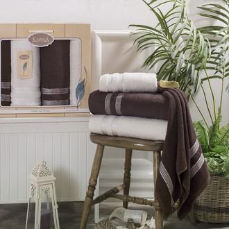 Набор полотенец банных в подарочной упаковке 50*100(2), 100*150(2) Karna PETEK махра хлопок (кремовый+коричневый)