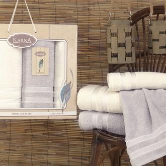 Набор полотенец банных в подарочной упаковке 50*100(2), 100*150(2) Karna PETEK махра хлопок (кремовый+серый)
