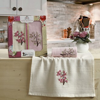 Набор кухонных полотенец Karna BLOSSOM вафля хлопок (V3)