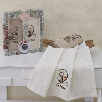 Набор кухонных полотенец Karna SUPREMO COFFEE вафля хлопок (V2)