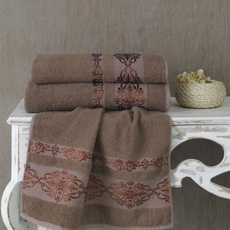 Полотенце для ванной Karna REBEKA махра хлопок (коричневый)