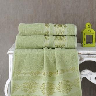 Полотенце для ванной Karna REBEKA махра хлопок (тёмно-зелёный)