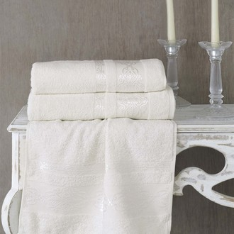 Полотенце для ванной Karna REBEKA махра хлопок (кремовый)