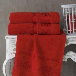 Полотенце для ванной Karna REBEKA махра хлопок красный 50х90