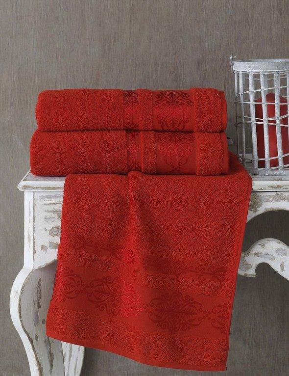 Полотенце для ванной Karna REBEKA махра хлопок (красный) 50*90, фото, фотография