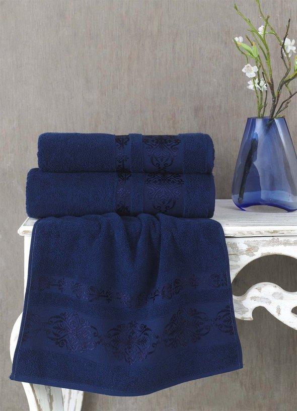 Полотенце для ванной Karna REBEKA махра хлопок (синий) 50*90, фото, фотография