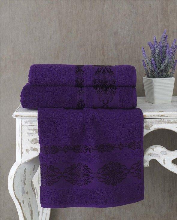 Полотенце для ванной Karna REBEKA махра хлопок (фиолетовый) 70*140, фото, фотография