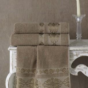 Полотенце для ванной Karna REBEKA махра хлопок кофейный 50х90