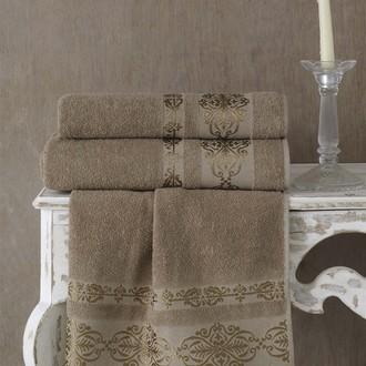 Полотенце для ванной Karna REBEKA махра хлопок (кофейный)