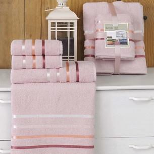 Подарочный набор полотенец для ванной Karna BALE хлопковая махра 50х80 2 шт., 70х140 2 шт. светло-розовый
