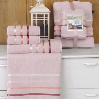 Подарочный набор полотенец для ванной Karna BALE хлопковая махра 50*80(2), 70*140(2) (светло-розовый)